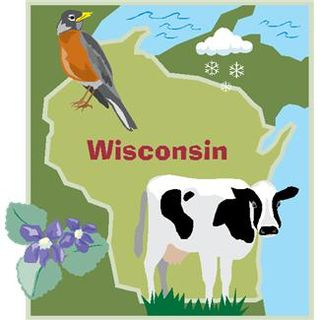 Wisconsin Map with Cow
