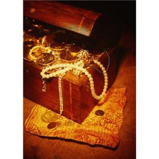 Box of coins, gold, pearls