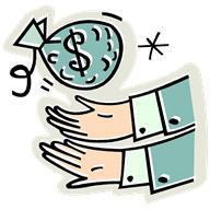Money bag falling into hands